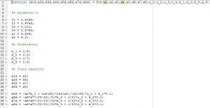 کد نوشته شده به منظور پیاده سازی دینامیک سیستم کووادروتور min 300x155 پیاده سازی دینامیک سیستم در سیمولینک